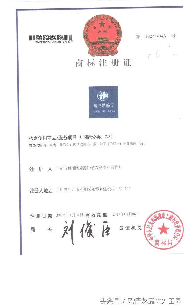 广元市利州区龙源合作社品牌晴飞皓静天商标证书1类、29类公示