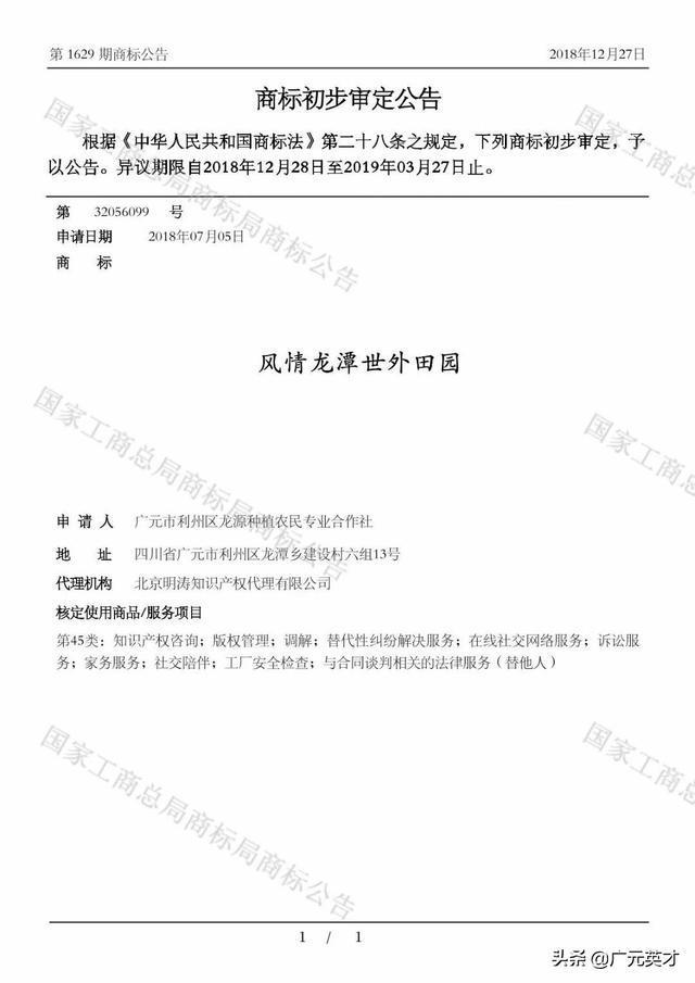 风情龙潭世外田园45类商标初步审定公示